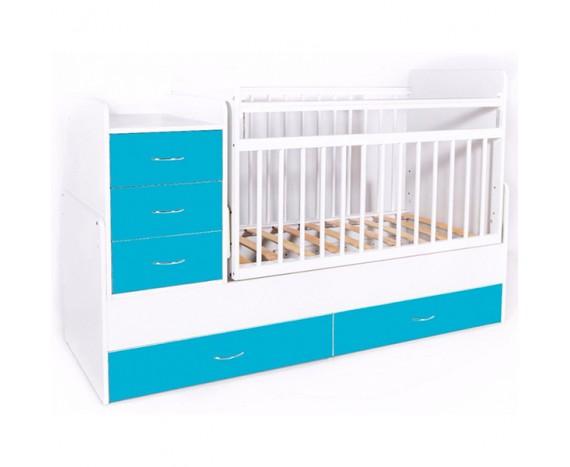 Кроватка Bambini трансформер бело-голубой