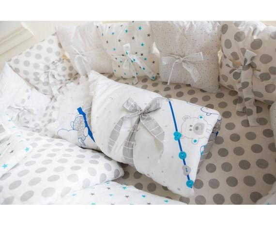 Постель БаюБай для Овальной кроватки «Серый горошек - 9пр» цвет Серый