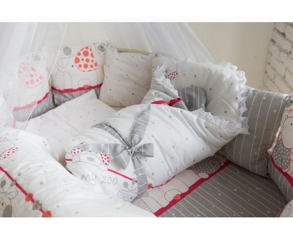 Постель БаюБай для Овальной кроватки «Дружба 9пр» цвет Красный