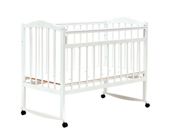 Кроватка Bambini колесо-качалка белая