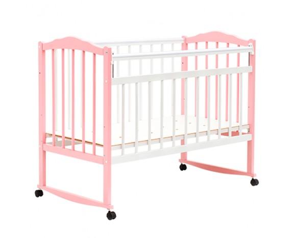 Кроватка Bambini колесо-качалка Белый + розовый