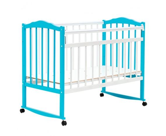 Кроватка Bambini колесо-качалка Бело-голубой