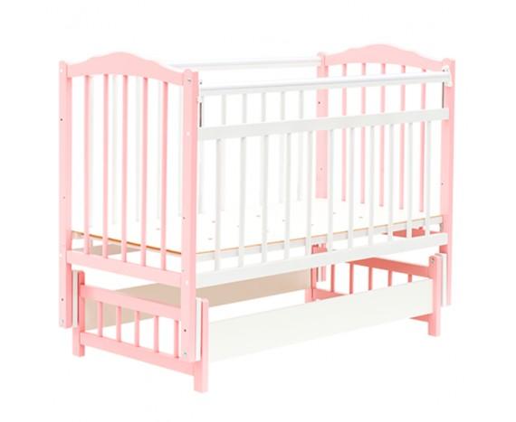 Кроватка Bambini маятник без ящика Белый + розовый