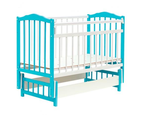 Кроватка Bambini маятник без ящика Белый + голубой