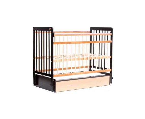 Кроватка маятник с ящиком ЕвроСтиль темный орех + натуральный