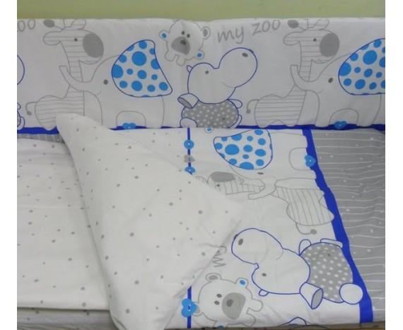 Постелька для новорождённых Баю-Бай Зоопарк синий ЛЮКС 6-ти предметный