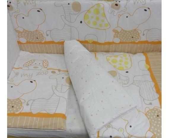 Постелька для новорождённых Баю-Бай Зоопарк оранжевый ЛЮКС 6-ти предметный