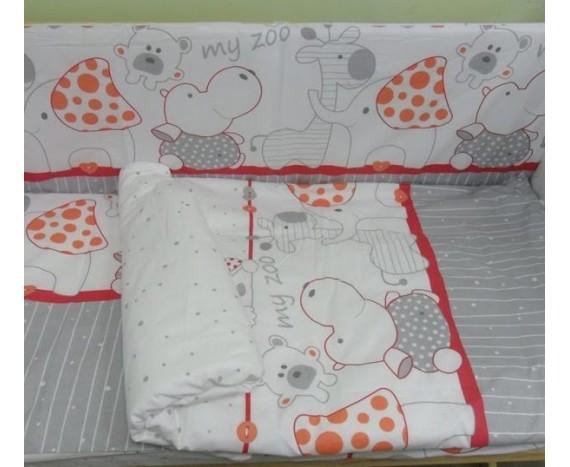 Постелька для новорождённых Баю-Бай Зоопарк красный ЛЮКС 6-ти предметный