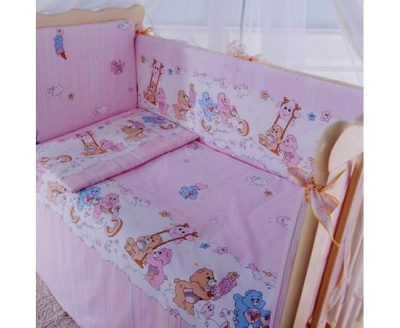 Постелька для новорождённых Баю-Бай Забава розовый 6-ти предметный