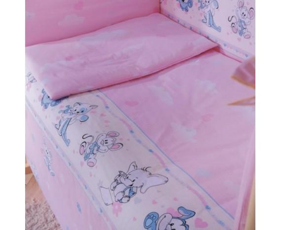 Постелька для новорождённых Баю-Бай Улыбка розовый 6-ти предметный