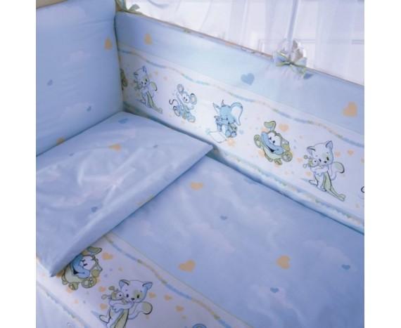 Постелька для новорождённых Баю-Бай Улыбка голубой 6-ти предметный
