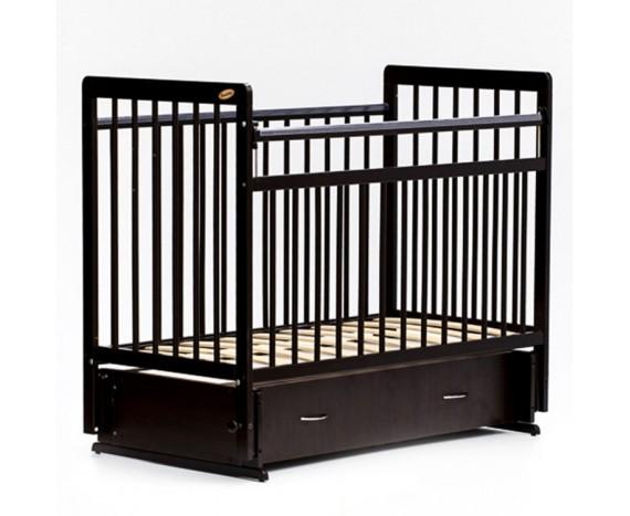 Кроватка «мультимаятник» с ящиком ЕвроСтиль темный орех