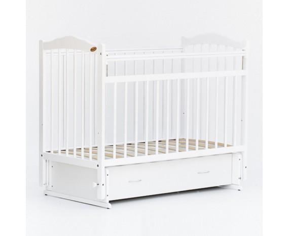 Кроватка маятник с ящиком Классик белый