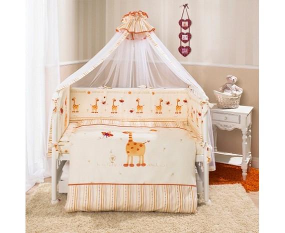 Постелька для новорожденных Перина «Кроха» Жирафики + держатель