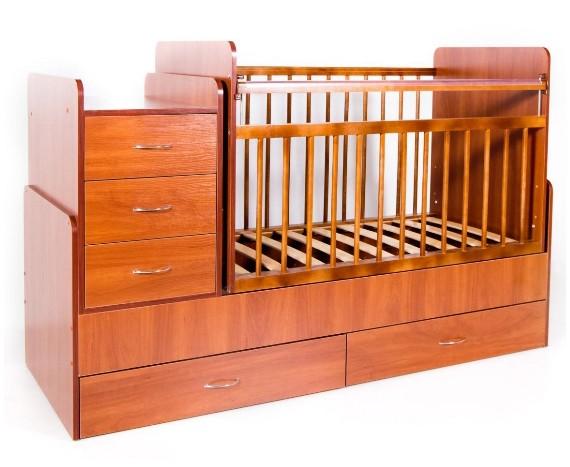 Кроватка Bambini трансформер Светлый орех