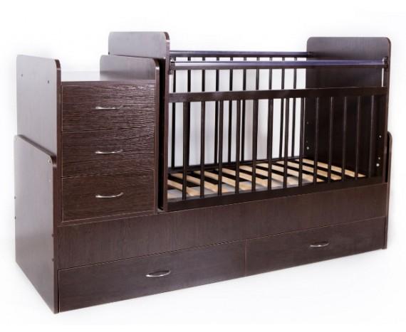Кроватка Bambini трансформер Темный орех