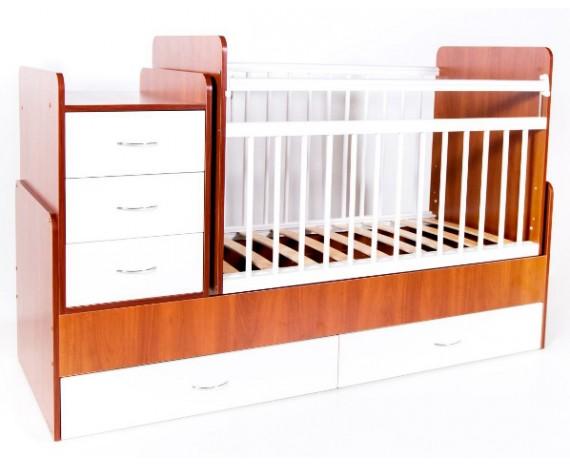 Кроватка Bambini трансформер Светлый орех + белый